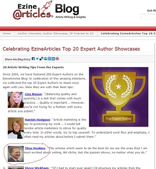 EzineArticle Top 20 Author Showcases Screenshot