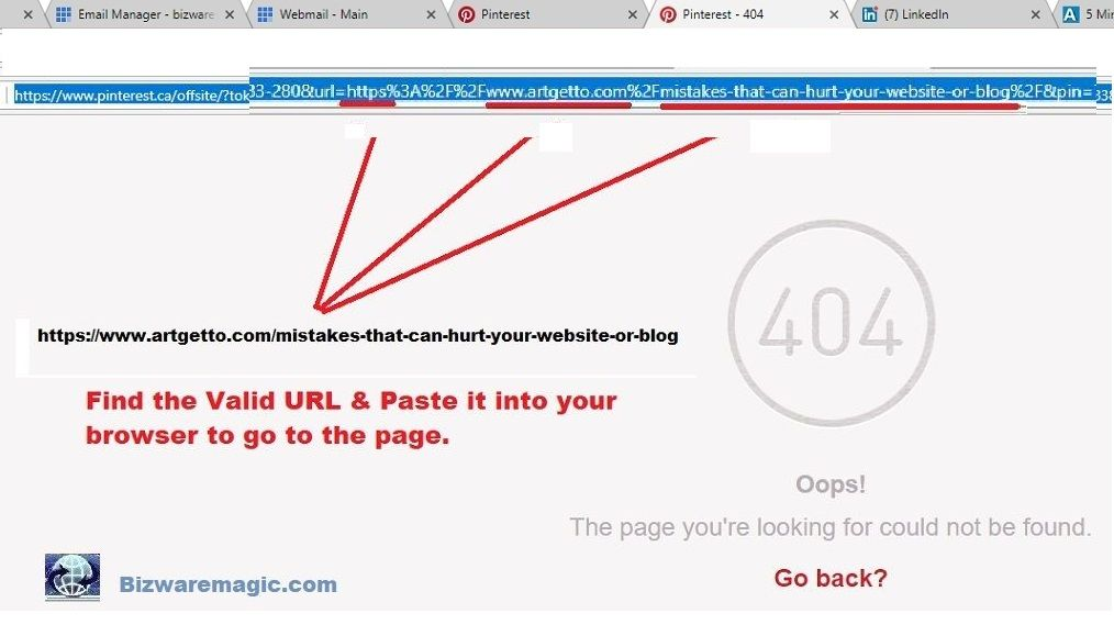 How to find the valid URL in the Pinterest Code - Paste it into your browser to go to the URL.