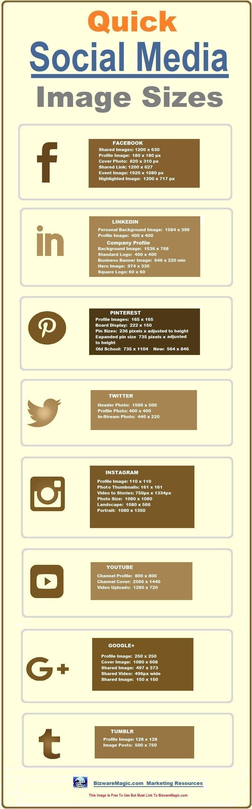 Quick Social Media Image Sizes 2018 Cheat Sheet
